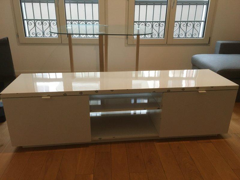 Montage de meuble tv + table avec plateau en verre