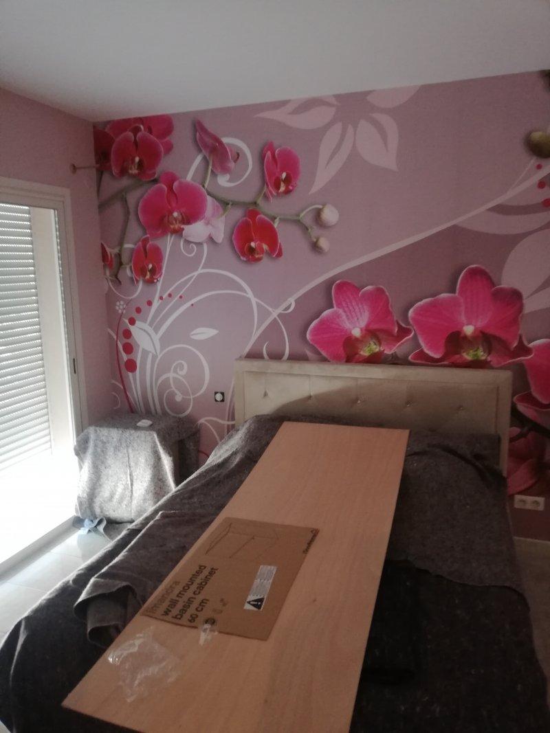 Réalisation chambre peinture et tapisserie