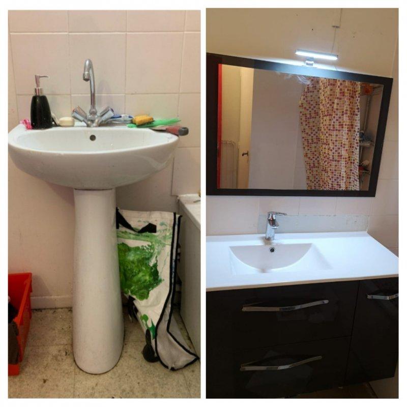 Remplacement d un lavabo par meuble vasque