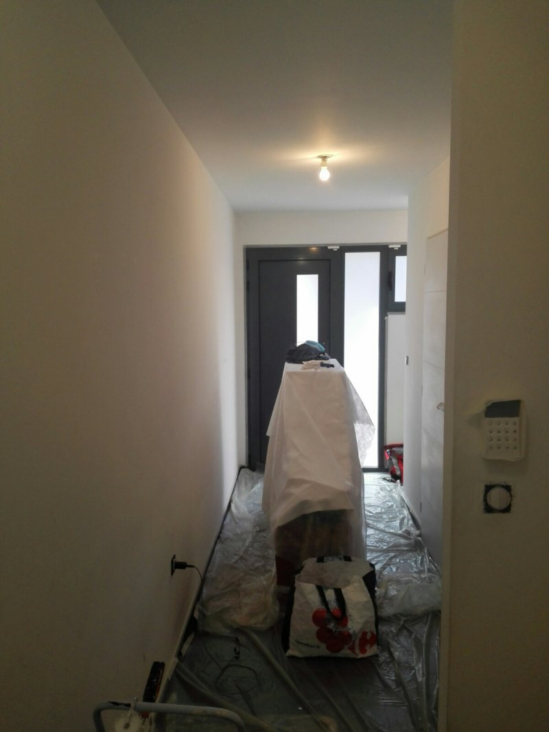 Réalisation peinture blanche dans Hall entrée