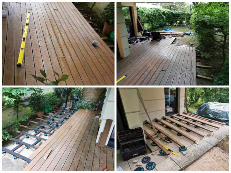 Pose terrasse 26m2 sur plots lambourdes et intercalaires sur sol irrégulier ier