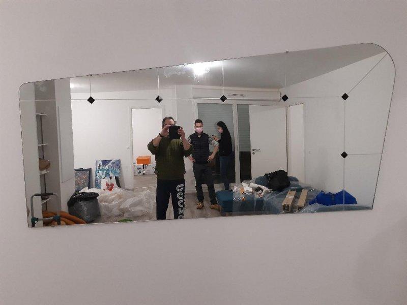 pose de miroir 2 mètred art déco