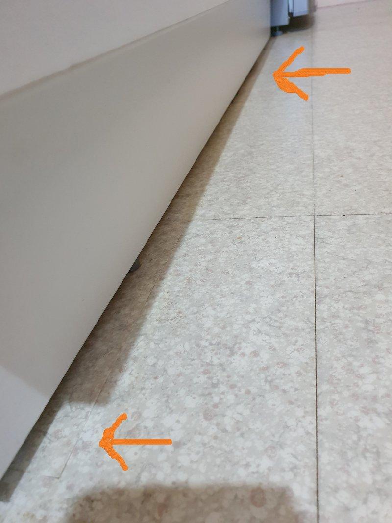 Suite changement  meuble sous lavabo, Pose revêtements sol partiels même teinte