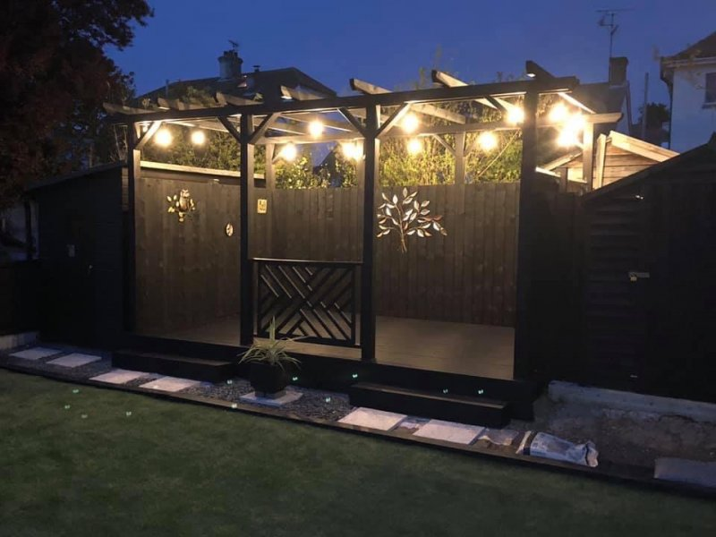 Complete garden makeover with decking, pergola, fencing and outdoor lighting