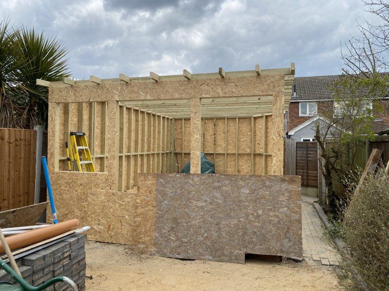 Timber framed outbuilding built