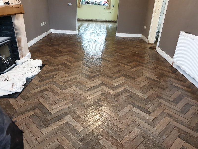 Living Room Tiled in Herringbone with 30cm x 10cm by Tilers NW Tiles