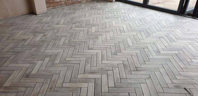 Kitchen Floor Tiled Herringbone 30cm x 10cm Tiles by Tilers NW