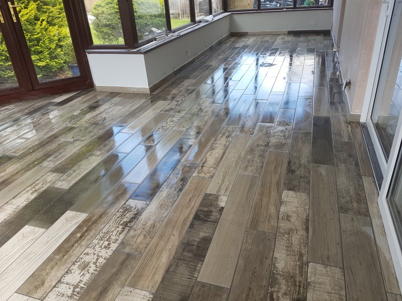Conservatory Floor Tiled (Plank Tiles 150mm x 900mm)by Tilers NW