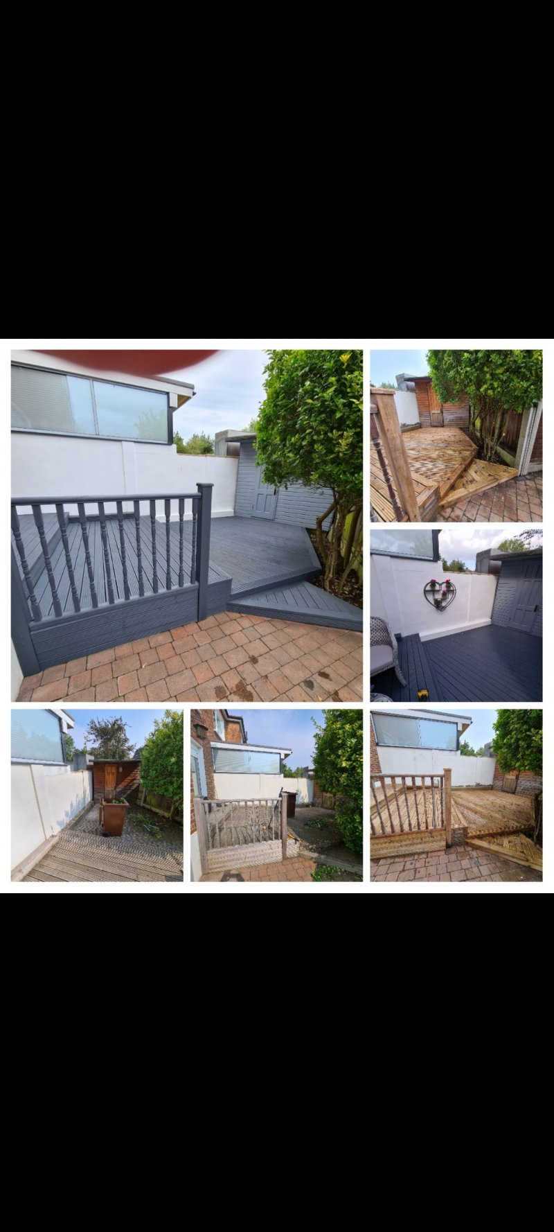 Prune tree, clean and paint decking, shed and wall